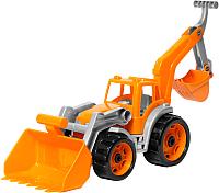Детская игрушка ТехноК Трактор с двумя ковшами 3671 (оранжевый) -