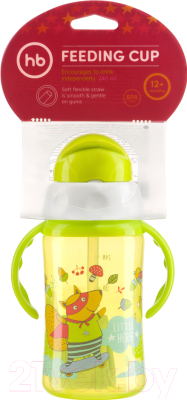 Поильник Happy Baby Feeding Cup 14004 (лайм, с трубочкой и ручками)