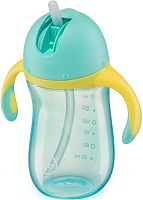 Поильник Happy Baby 14010 (голубой, с трубочкой и ручками) -