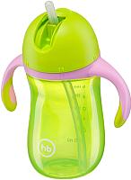 Поильник Happy Baby 14010 (лайм, с трубочкой и ручками) -