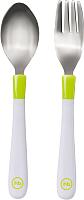 Набор детских столовых приборов Happy Baby Spoon Fork Baby Cutlery Set 15027 (лайм) -