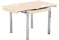 Обеденный стол Седия Karlota 16 (хром/кремовый, с рисунком) -