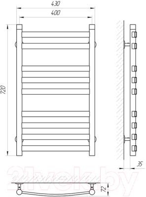 Полотенцесушитель водяной Laris Кватро Классик П9 400x700