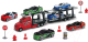 Набор игрушечных автомобилей Dickie Трейлер 203745001 (6 авто + дорожные знаки) -