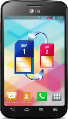 Смартфон LG E445 Optimus L4 II Dual Black - вид спереди