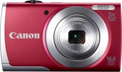 Компактный фотоаппарат Canon PowerShot A2500 Red - вид спереди