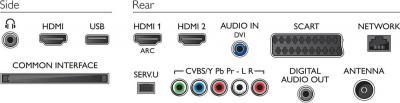 Телевизор Philips 40PFL4308T/60 - входы/выходы