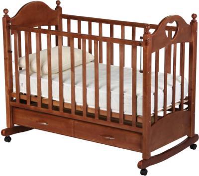 Детская кроватка РИО Джулия с сердечком (Орех) - общий вид