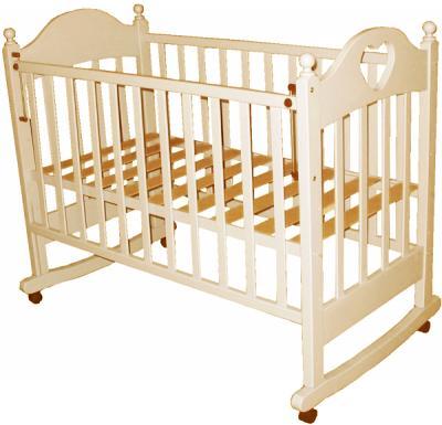 Детская кроватка РИО Вероника с сердечком (Слоновая кость) - общий вид
