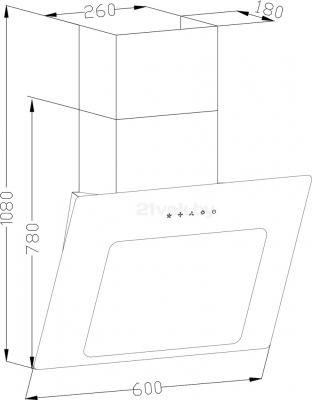 Вытяжка декоративная Backer AH60E-L6 (60, черное стекло) - схема