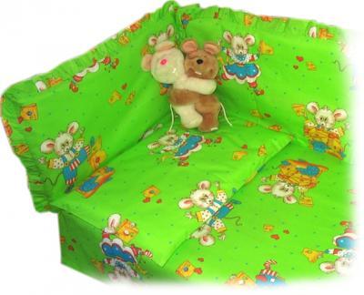 Комплект в кроватку Ночка Мышки с сыром 4 (салатовый) - общий вид