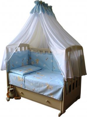 Комплект в кроватку Ночка Мишки с пчёлами 4 (голубой) - балдахин в комплект не входит