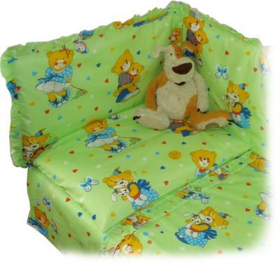 Комплект в кроватку Ночка Медвежата 3 (салатовый) - бампер в комплект не входит