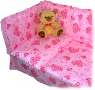 Комплект в кроватку Ночка Сердечки 3 (розовый) - бампер в комплект не входит