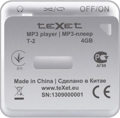 MP3-плеер TeXet T-2 (4Gb) Silver - вид сзади