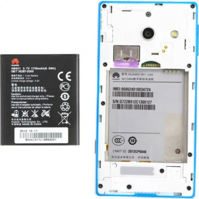 Смартфон Huawei Ascend W1 Blue - с вынутым аккумулятором
