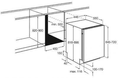 Посудомоечная машина Electrolux ESL4300RO - габаритные размеры