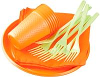 Набор одноразовой посуды Domi На 6 персон (оранжевый) -