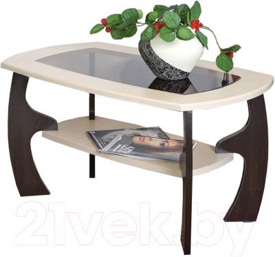 Журнальный столик Олмеко Маджеста-3 со стеклом (венге/клен азия)