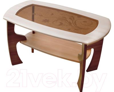 Журнальный столик Олмеко Маджеста-3 со стеклом (ясень шимо темный/светлый)