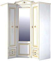 Шкаф Мебель-Неман Роза МН-306-09П (белый полуглянец/золотая патина) -