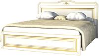 Двуспальная кровать Мебель-Неман Роза МН-306-10-160П (белый полуглянец/золотая патина) -