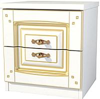 Прикроватная тумба Мебель-Неман Роза МН-306-02П (белый полуглянец/золотая патина) -