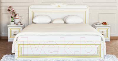 Прикроватная тумба Мебель-Неман Роза МН-306-02П (белый полуглянец/золотая патина)