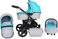 Детская коляска Genesis Fashion 3 в 1 (серый/синие цветы) -
