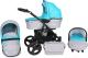 Детская универсальная коляска Genesis Fashion 3 в 1 (серый/синие цветы) -