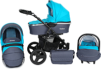 Детская универсальная коляска Genesis Fashion 3 в 1 (графит/бирюза) -