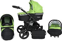 Детская универсальная коляска Genesis Fashion 3 в 1 (черный/зеленый) -