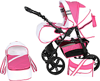 Детская универсальная коляска Genesis Cross (белый/розовый) -