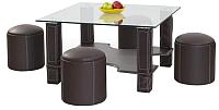 Журнальный столик Halmar Megan с пуфами (темно-коричневый) -