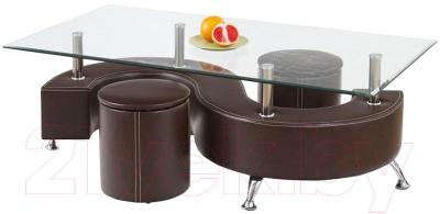 Журнальный столик Halmar Nina 3H с пуфами (коричневый)