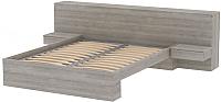 Двуспальная кровать 3Dom Фореста РС001 (дуб аутентик серый) -