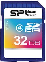 Карта памяти Silicon Power SDHC Class 4 32 Гб (SP032GBSDH004V10) -
