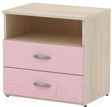 Прикроватная тумба 3Dom Слимпи СП522 (акация молдавск/фламинго розовый)