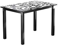 Обеденный стол Васанти Плюс Люкс 120/178x80/ОЧ (черный/хром/122) -