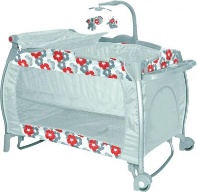 Кровать-манеж Lorelli I'Lounge 2 Rocker Orange Flowers - общий вид
