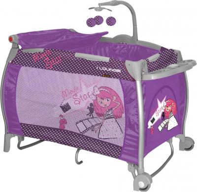 Кровать-манеж Lorelli I'Lounge 2 Rocker Pink Movie Star - общий вид