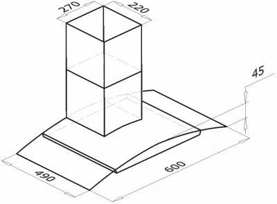 Вытяжка купольная Backer QD60A-G6L120 (60, нержавейка/темное стекло) - схема