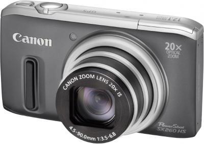 Компактный фотоаппарат Canon PowerShot SX260 HS Gray - общий вид