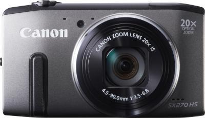 Компактный фотоаппарат Canon PowerShot SX270 HS Gray - вид спереди