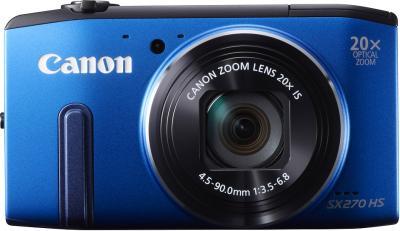 Компактный фотоаппарат Canon PowerShot SX270 HS Blue - вид спереди