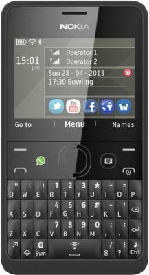 Мобильный телефон Nokia Asha 210 Dual (Black) - вид спереди