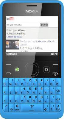 Мобильный телефон Nokia Asha 210 Dual (Cyan) - вид спереди