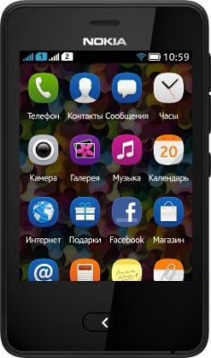Мобильный телефон Nokia Asha 501 Dual (Black) - вид спереди