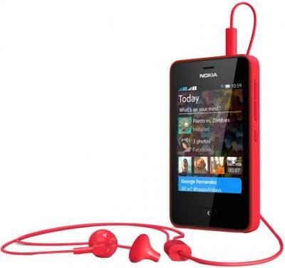 Мобильный телефон Nokia Asha 501 Dual (Bright Red) - с подключенными наушниками