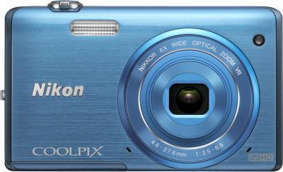 Компактный фотоаппарат Nikon S5200 Blue - вид спереди